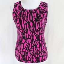 Calvin Klein Sleeveless Top Sz S Pink Black Stretch Polyester Shirt - $16.99