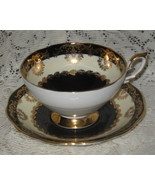Royal Standard-Tea Cup Set-Black & Ivory with Heavy Gold-Bone China-England - $38.00