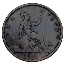 1865 Great Britain Penny VF Condition KM #794.2 Rim Bump on Rx - $39.59