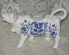 VTG Porcelain Cow Creamer-Blue/White - $17.00