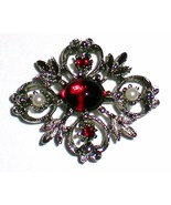 Red Cabochon faux seed pearls silver tone brooch - $20.00