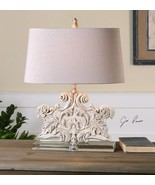 NEW CRYSTAL BASE STONE IVORY WASH TABLE LAMP OLD WORLD CARVED STYLE LIGH... - $217.80