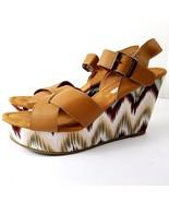 American Eagle Wedges 11 Chevron Heel Brown Strappy Shoes Boho Zig Zag P... - $17.95