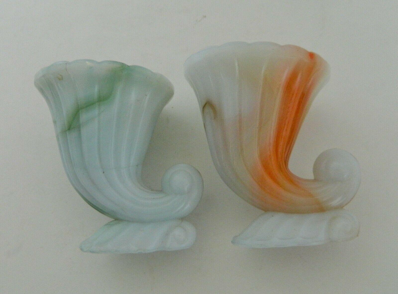 Akro Agate Cornucopias Plain Foot Style Orange & Green Marbleized Made in USA Tw - $16.71