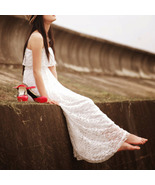 Romantic Goddess. Bohemian Full Lace White Maxi... - $78.00