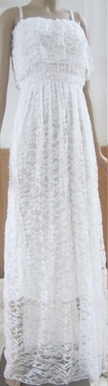 Romantic Goddess. Bohemian Full Lace White Maxi Dress. Cocktail Party Dress