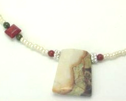 Agate & Coral Gemstone Cream Seed Bead Necklace & Earring Set