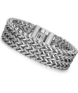 LOYALLOOK Stainless Steel 19MM Cuban Curb Link Chain Men's Bracelets Ro... - $36.16