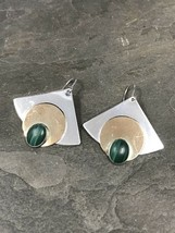Vtg two tone handmade Sterling Silver Earrings W/ Malachite, 925 - $25.12