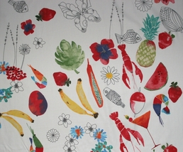 1 yd food/fruits/pineapple/watermelon/banana/lobster/fish/flowers Ikea fabric