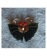 GENUINE JADE WINGED BUTTERFLY BROOCH / RED GLASS EYES - $35.00