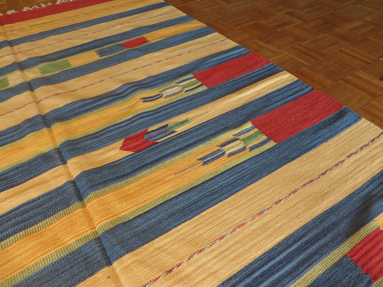 6 X 9 Dhurry Kilim Flat Weave Hand Woven Reversible Rug G3479