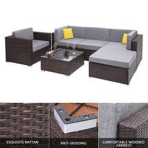 6 Pieces Patio PE Wicker Rattan Corner Sofa Set image 9