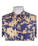 Cooke Street Palm Trees Islands Huts Large Hawaiian Aloha Shirt - $29.69