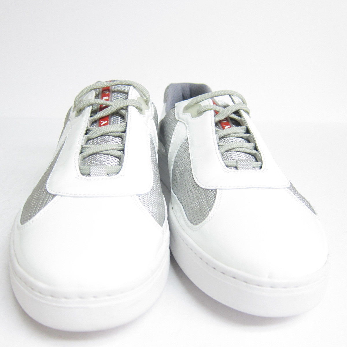 P-556248 New Prada Calzature Uomo White Gray Lace Up Sneakers US 10 UK 9