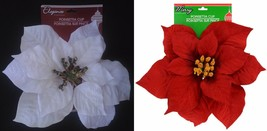 "Christmas Holiday Ornament Poinsettia Clips 8"" 1 Clip/Pk Select: Red &/or White - $3.46+"