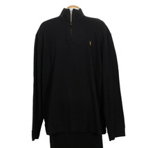 Polo Ralph Lauren Black Cotton Estate Rib Half Zip Pullover Sweater Xxl - $62.99