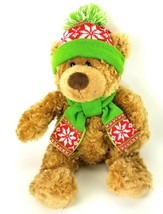 Hugfun Winter Bear Brown Red Green Hat Scarf Plush Stuffed Animal Soft EUC - $13.09