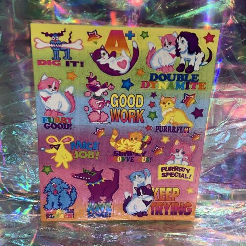 Vintage Lisa Frank Complete Sticker Sheet   Teacher Grading RARE HTF