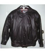 Mens DARK BROWN LEATHER Sterling Stall Varsity Bomber Jacket MEDIUM VGUC - $48.49