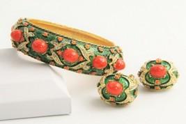 Vintage Estate Jewelry Marvella Mogul Cabochon Bangle Bracelet & Earrings Set - $165.00