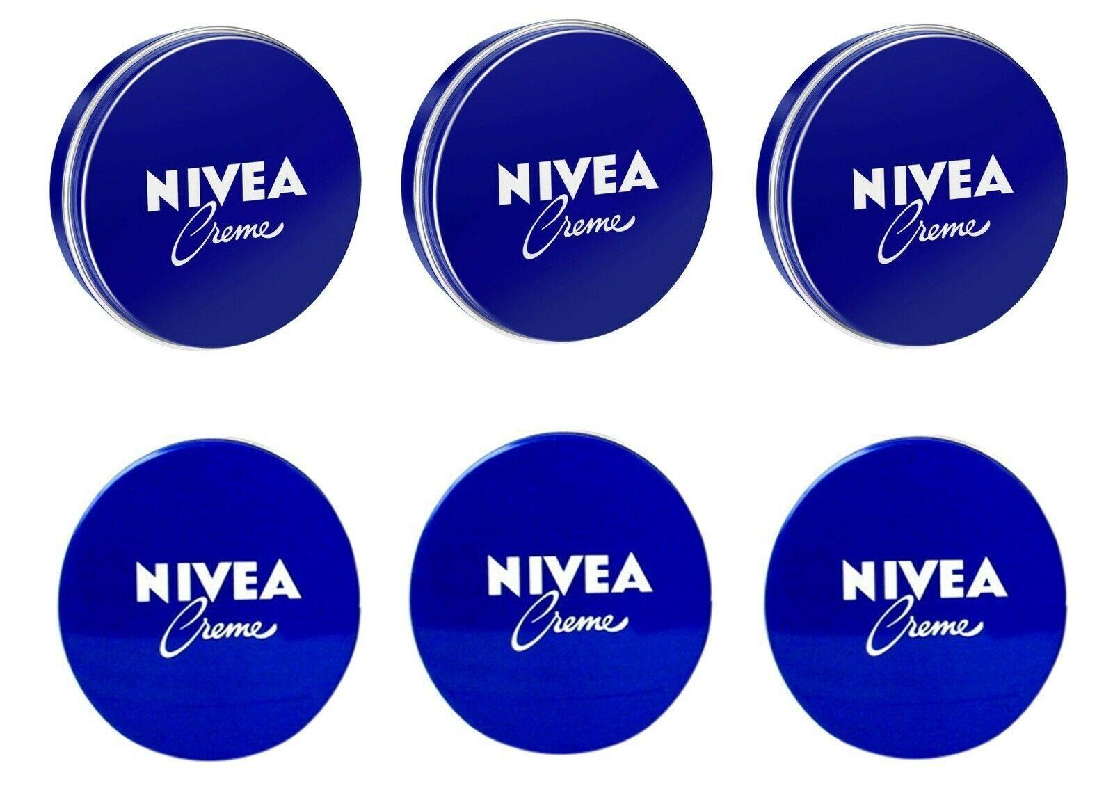 6 Can of 30 mL/ 1 oz NIVEA CREAM Skin Hand CREME moisturizer Metal Tin Total 6oz