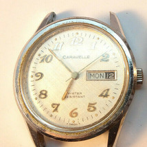 1977 CARAVELLE 17 JEWEL DAY DATE WATCH WITH GOOD DIAL RUNNING TO RESTORE... - $120.00