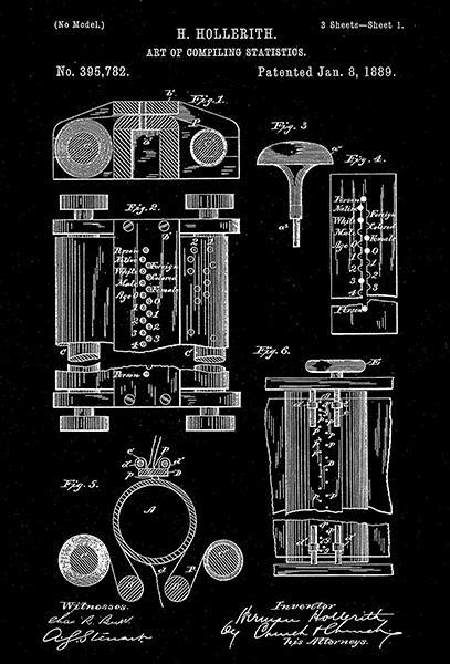 Primary image for 1889 - Art of Compiling Statistics - Computer - H. Hollerith - Patent Art Poster