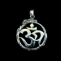 Solid 925 Sterling Silver Snake/Serpent/Dragon OUROBOROS OM/AUM Pendant - $30.97