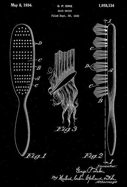 Primary image for 1934 - Hair Brush - G. P. Dike - Patent Art Poster