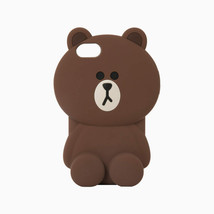 LINE Friends Mega BROWN Silicone Case 7/7Plus iPhone Cover Mobile Skin C... - $40.19+