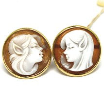 YELLOW GOLD EARRINGS 18K 750, CAMEO CAMEO SHELL, PAIR ELVES, ELF image 1