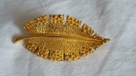 """2""""DESIGNER Signed Elg Pretty Elegant Leaf Brooch Pin, Dark Gold Tone Metal, Vtg - $4.94"""