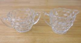 Fostoria American Clear Glass Creamer & Sugar Bowl - $6.89