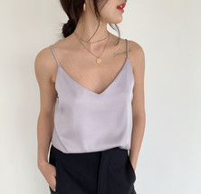Pale Blue V-Neck Sleeveless Ladies Chiffon Tank Top Wedding Bridesmaid Tanks Top image 3
