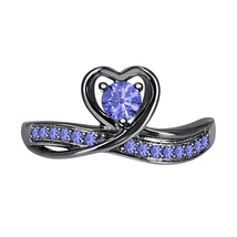 Round Cut Tanzanite 14k Black Gold Over 925 Silver Lovely Heart Promise Ring - $59.49