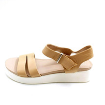 Franco Sarto Womans Essie Wedge Ankle Strap Sandal Beige Leather Sz 9 M NEW - $37.61