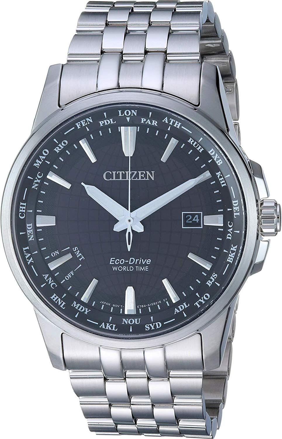 Citizen World Time Black Dial Stainless Steel Men's Watch BX1000-57E