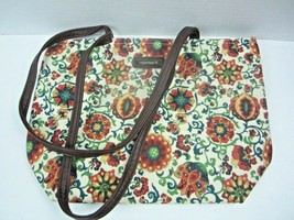 LONGABERGER Floral Cotton Small Tote Purse Bag ~ Leather bottom & Straps - $13.99