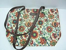 LONGABERGER Floral Cotton Small Tote Purse Bag ~ Leather bottom & Straps - $13.99