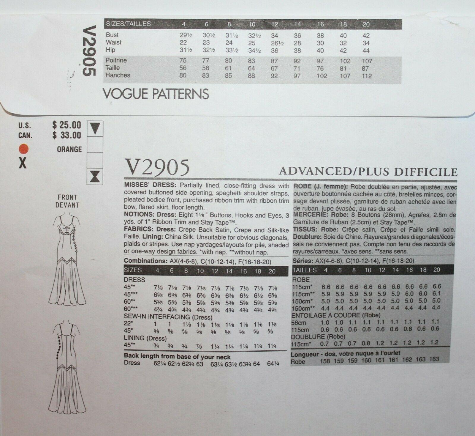 Vogue Sewing Pattern 2905 Badgley Mischka Formal Dress Size 10 12 14 image 2