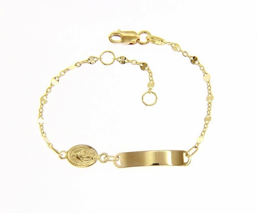 18 KT YELLOW GOLD BRACELET FOR KIDS WITH MIRACULOUS MEDAL MADE IN ITALY  5.91 IN