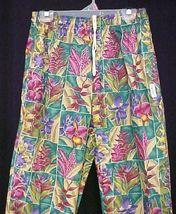Landau Tropical Floral Print Elastic Drawstring Baggie Chef Pants Large New - $19.77