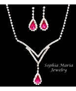 Pink teardrop crystals clear evening necklace set bridesmaid prom Gift Box - $18.99