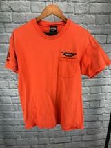 Harley Davidson Men's Orange Short Sleeve Plain Pocket T Shirt Embroider... - $18.61