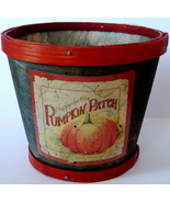 Round Green Wooden Basket w/Happy Jack's Pumpkin Motif  - $5.00
