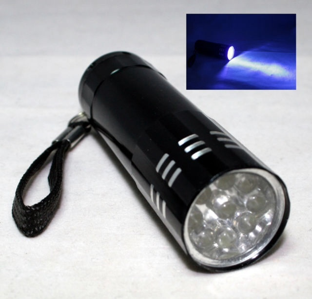 9 UV BLACKLIGHT ULTRA VIOLET LED FLASHLIGHT TORCH LIGHT LAMP 9 BULBS CAMP HUNT