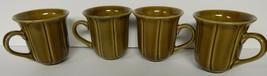 4 Stoneware Coffee Tea Mugs 214 West Green Brown Vintage Line Pattern Re... - $29.69