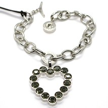 REBECCA BRONZE BRACELET, BIG HEART PENDANT GRAY CRYSTALS, BWSBBN27 MADE IN ITALY image 1