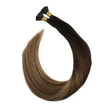 Ugeat 16 Inch Keratin Tipped Human Hair Extensions 0.8g/Strand Color #1B/4/27 Ba image 1